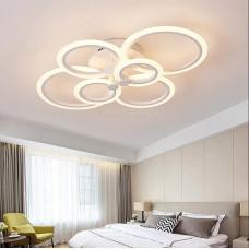 Lustra LED Circle Design, Dreptunghiulara 6 cu Telecomanda, lumina calda/ rece si intensitate reglabila