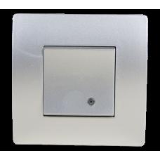 BASIC Intrerupator simplu cu led argintiu  Elmark