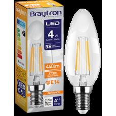 Bec Filament lumanare 4W E14 lumina calda Braytron