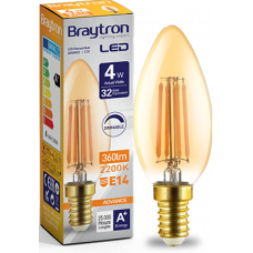 Bec Filament lumanare Amber 4W E14 luminca calda Braytron