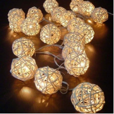 Instalatie 20 LED glob ratan cu baterii Venuto 29956-20