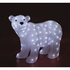 Decor din acril cu LED-uri, urs polar, 42x58 cm, IP44, 230V, KDA 6