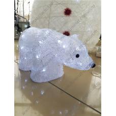 Figurina Urs polar acril, alb transparent